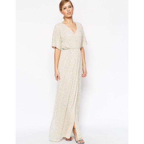 f8b432b4995 NWT ASOS Sequin Embellished Kimono Maxi Dress 6